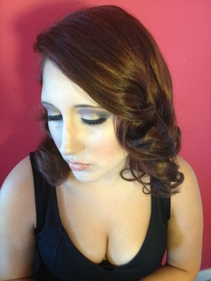 Gray, brown, and black smoky eyes with flawless airbrush, blush, and glossy nude lips
