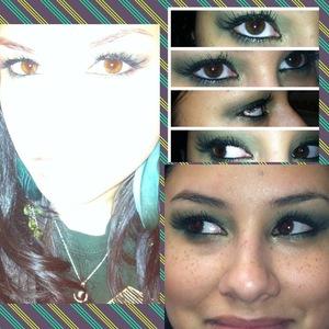 Did my sister's eye makeup. Eyeshadow: Maybelline EyeStudio in Forest Fury; Mascara: Hard Candy Curl up & Dye in Late Night 251; Eyeliner: Rimmel Special Eyes in Ivy 130 & NYX Jumbo Eye Pencil in Rocky Mountains Green