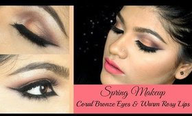 Spring Makeup - Coral Bronze Eyes & Warm Rosy Lips