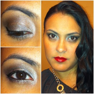 Silver glitter and red pop lips perfect look for the new Year!