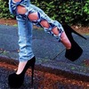 black high heels and bow jeans
