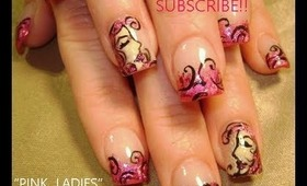 PINK FOIL on french with ladies faces: robin moses nail art design tutorial