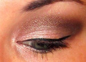 Brown and pink with a drastic winged liner