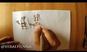 How to draw a dulha-dulhan in Bridal mehndi
