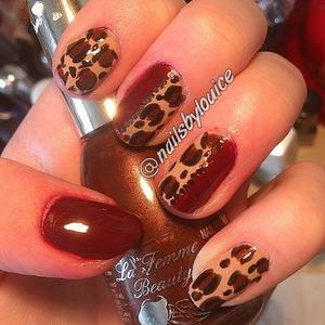 dark red, cheeta prints and glitter flakes!