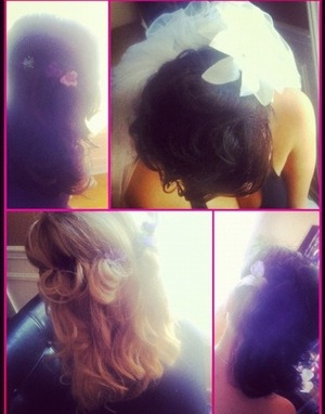 Did the bride and bridesmaids hair for my cousins wedding :) so much fun!!