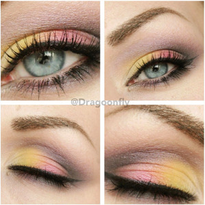 "Yellow and orange is from sleek makeup ""curacao"" palette and the purple colors are sephora ""Brunette eye 08"""