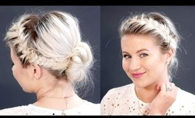 Double French Braids Messy Bun For Short Hair | Milabu