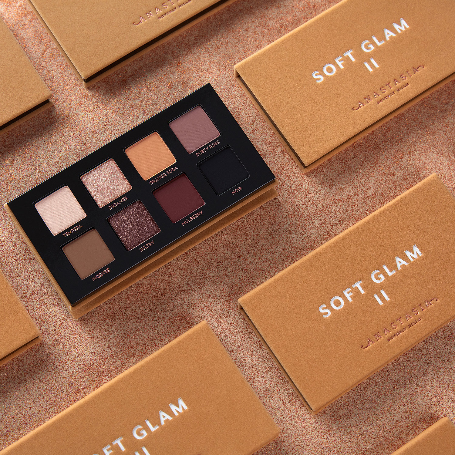 Alternate product image for Soft Glam II Mini Eye Shadow Palette shown with the description.