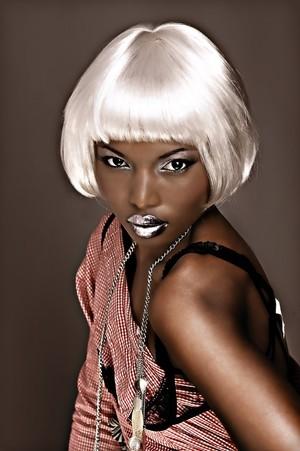 avant garde look, platinum bob haircut, silver eyeshadow, silver lip