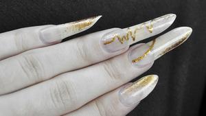 NYX in Nude White OPI in Goldeneye Revlon top coat  More info here: http://bit.ly/12t5VjD