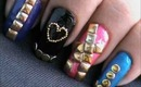 Golden nail art studs design- ideas how to do studded nail art designs - square/circle/pyramid/metal