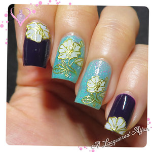 3D Gold Floral Nail Seals #10946 from http://BornPrettyStore.com over OPI Viking In A Vinter Vonderland and piCture pOlish Unicorn.  More details on http://www.alacqueredaffair.com/Born-Pretty-Store-Nail-Accessories-Part-II-36118143