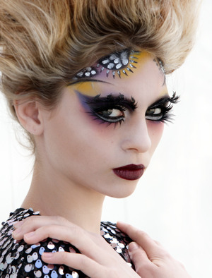 Dramatic makeup with layered colours by Blanche Macdonald Makeup instructor/graduate Timothy Hung.