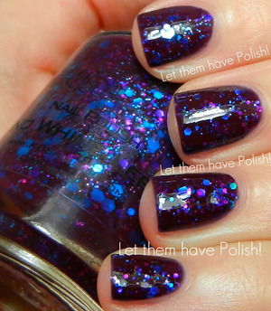 A deep Plummy creamy base packed full of varying sized hexes in Vivid Blue and Purple.