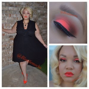 Follow me @Blondiemocha on Instagram for more looks!!!    Smokin' Orange... 🔥🍊   I began by using Urban Decay eyeshadow primer as a base.   Eyes -  Los Angeles (Sue Devitt Cosmetics, it's a blush but I use it as an eyeshadow, upper eye)  Double Feature 8 Orange (Mac Cosmetics, upper eye and crease, LE) Flamepoint (Sugarpill, crease) Neo Orange Pigment (Mac Cosmetics, lid) Espresso (Mac Cosmetics, outer V and outer crease) Broken (Urban Decay, under brow, LE, Theodora Palette)  Brows - Anastasia Beverly Hill Brow Wiz in Soft Brown.   Lashes - House of lashes Noir Fairy  Lips - Morange Lipstick (Mac Cosmetics) and Harlot Lip Tar (Obsessive Compulsive Cosmetics)     Clothing -  Outfit is from Torrid Shoes - Kat Von D, her clothing website is www.wonderlandla.com
