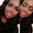 Blue Teal and Nude Lip Makeup Look