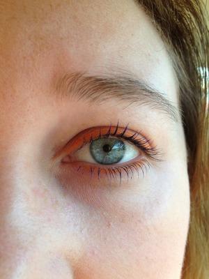 Orange eyeliner and my new blue mascara