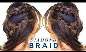 Diamond Headband Braid Hairstyle ★ Back to School Half Updo Hairstyles