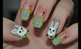 Plaid Easter Bunny Nail Art Tutorial