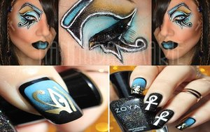 """I wanted to do something for a friend's contest, so I whipped this little something up!  It was a """"nail inspired"""" Contest. So I did just that. Spent countless minutes on the net surfing through until I found the nails that spoke to me the most.  (I do NOT own the nails, I only own my face! The nails belong to nailcraze!)"""