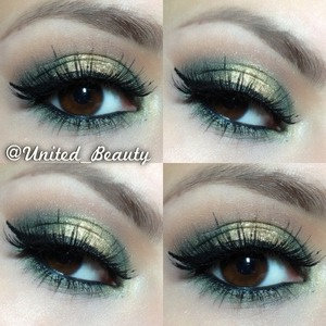 I was inspire by all the green and gold going on these days so i came up with this look hope you enjoy and if you try this hastag me on instagram #United_beauty