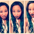 Color green hair black lips