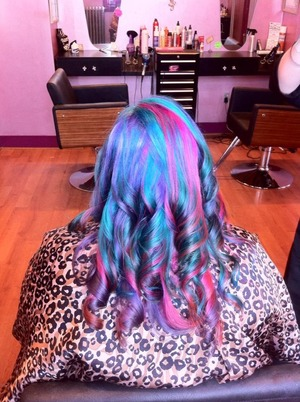 Manic cotton candy mixed with hot hot pink. twisted teal, enchanted forest, and purple haze with mystic heather