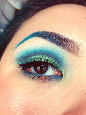Teal, turquoise, lime green and a little bit of a Chanel inspired orange pop.