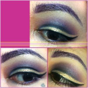 Winged gold eyeliner