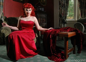 The wickedly divine Ms Scarlett from the Cleudo shoot.