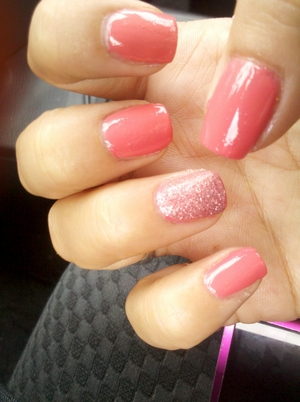 Outrageous by China Glaze with Eye Kandy glitter accent nail