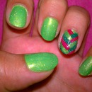Glittery Lime Green Mani with Fishtail Accent Nail