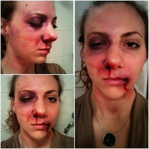 a beaten up face makeup look