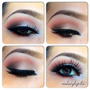 Makeup Geek's Mango Tango on the crease and Shimma Shimma on the lid. White Lies under the brow bone