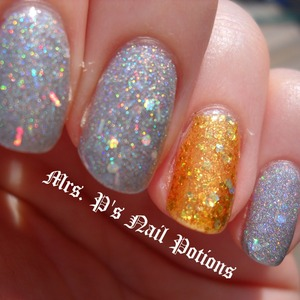 The gold is Mrs. P's Nail Potions Pirate's Booty. The silver is Mrs. P's Nail Potions Hella Holo. Both available at www.etsy.com/shop/MrsPsNailPotions. Pics do not do either polish justice.