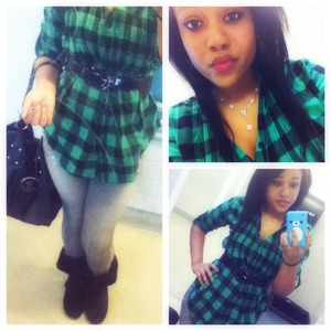 Plaid green shirt ($20 H&M) Grey jeggings ($20 Wet Seal) POLO purse ($40-$60 Forgot the store!) Boots ($80 DSW) Flower necklace ($10 Aeropostale) Belt ($20 Forever 21)