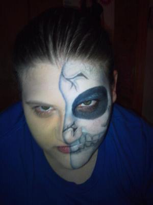 My wife on Halloween. She went as a half dead :-)
