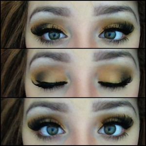 Used my BH cosmetics 120 first edition palette. Used a yellow over my lid, an orange in my crease. Than I took the Naked Basics Palette and used Naked 2 to blend into my crease and Creep to smoke out my look. Lined my eyes with my Stila Stay All Day eyeliner and added lashes