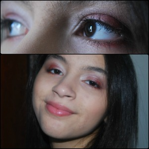 """My daughter will be 13 in less than a month! Ahhh..OK So she begs me to wear makeup but I'm pretty strict on waiting till she is 16 - Although for Halloween and some parties I may do a light look, and this is just that. She wanted red, so I lighten it up by using a Fantasy Makers Glitter palette with creamy glittery colors and softened out the red color and blended it with the shimmer white from the """"I'm Feeling Retro"""" 332 palette from Wet N' Wild - First priming the eye/face with Naked Skin by Urban decay(only a light cover) & priming just the eye with Magic Lumi by L'oreal. I also used a very light sweep of mascara on the top of her top lashes then, finished the look with a gloss :)"""