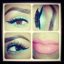 seafoam green and coral pink lips