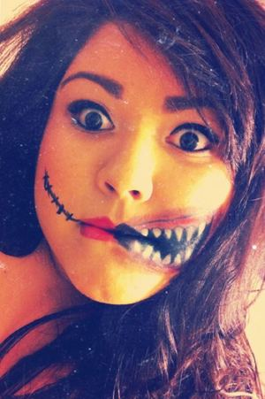 Playing around with makeup for halloween(: