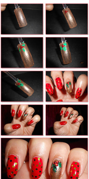 Its Christmas season, So here is one another tutorial for Christmas nail art. See the Things you need for a design with gold leaf for nails http://www.stylecraze.com/articles/easy-holy-leaf-nail-art-tutorial/