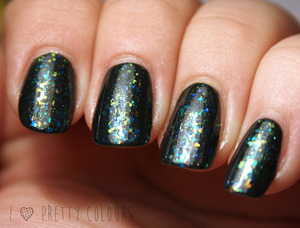 Three layers of different flakies over OPI Here Today...Aragon Tomorrow