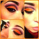 Orange with a purple cut crease