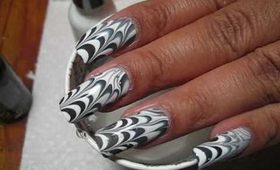 Halloween Spider Web Water Marble Nail Art Tutorial
