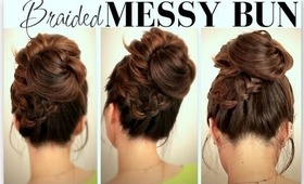 ★CUTE, EVERYDAY SCHOOL HAIRSTYLES | BIG, MESSY BUN WITH BRAIDS UPDOS FOR MEDIUM LONG HAIR TUTORIAL