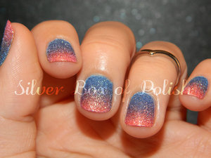 A gradient created using two textured nail polishes.