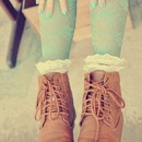 mint lace tights and  brown booties
