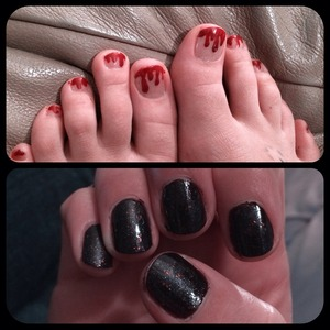 Dark and sparkly fingers and dripping blood red toes (all Gel)